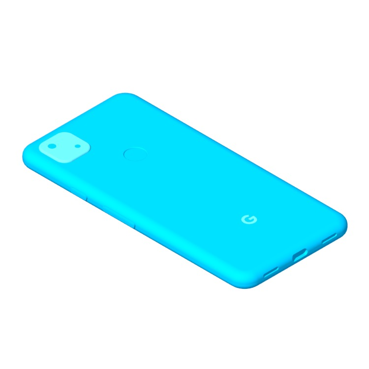 3D model of the Google Pixel 4a viewed in perspective