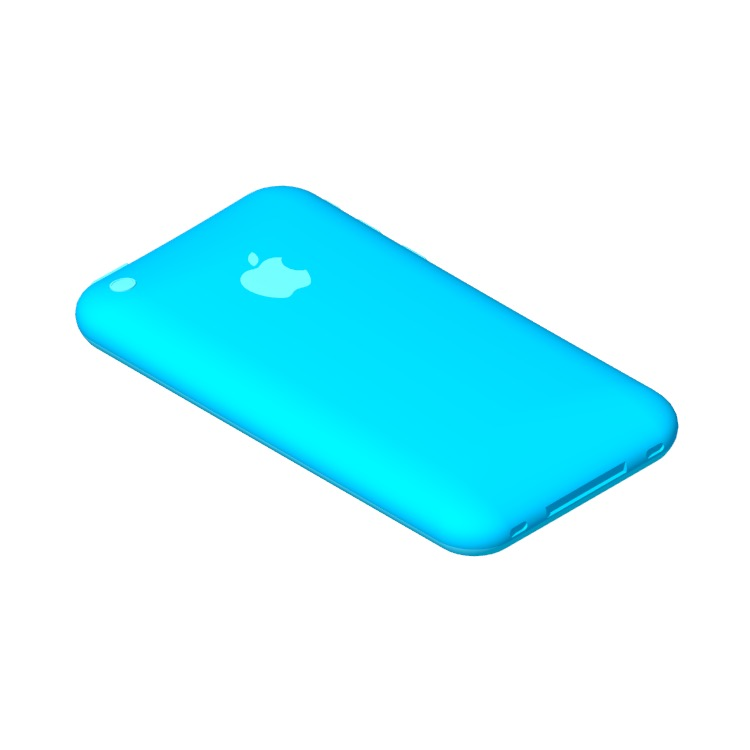 Perspective view of a 3D model of the Apple iPhone 3G (2nd Gen)