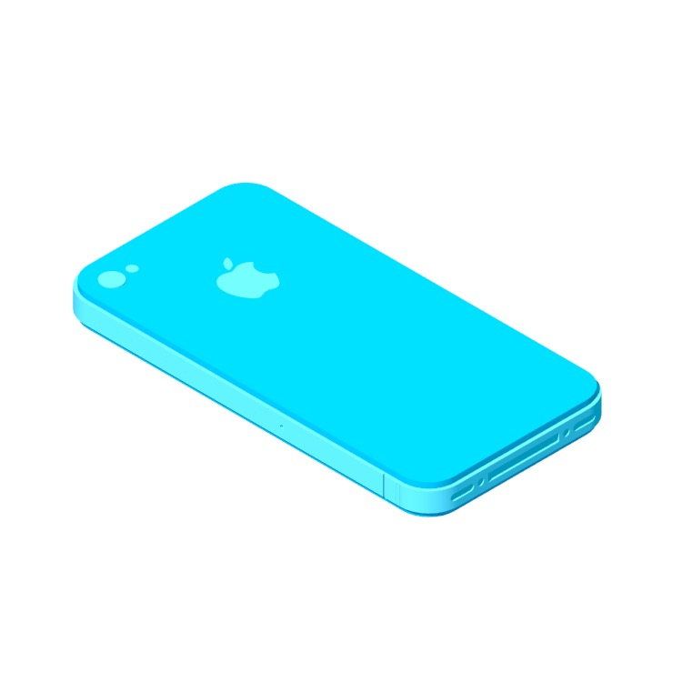 3D model of the Apple iPhone 4 (4th Gen) viewed in perspective