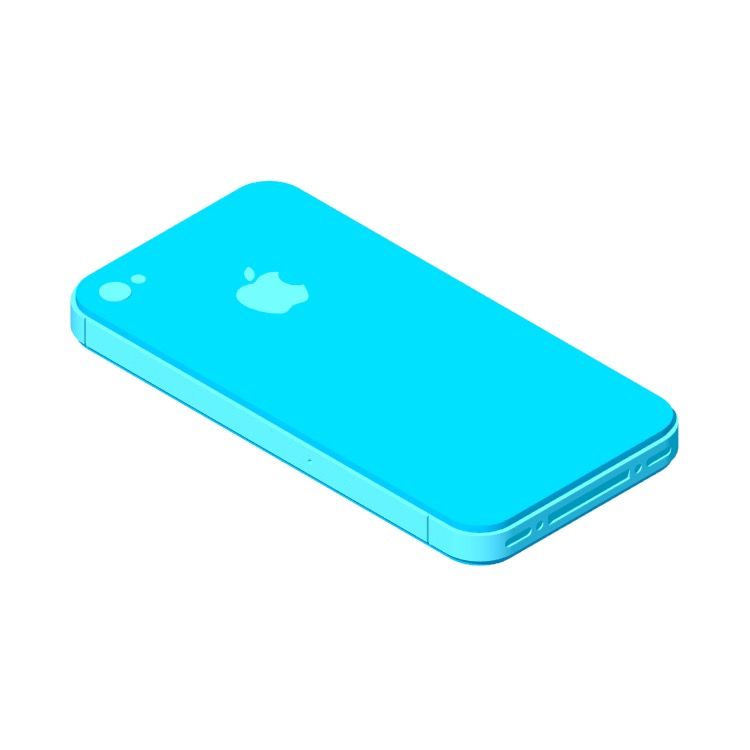 Perspective view of a 3D model of the Apple iPhone 4S (5th Gen)