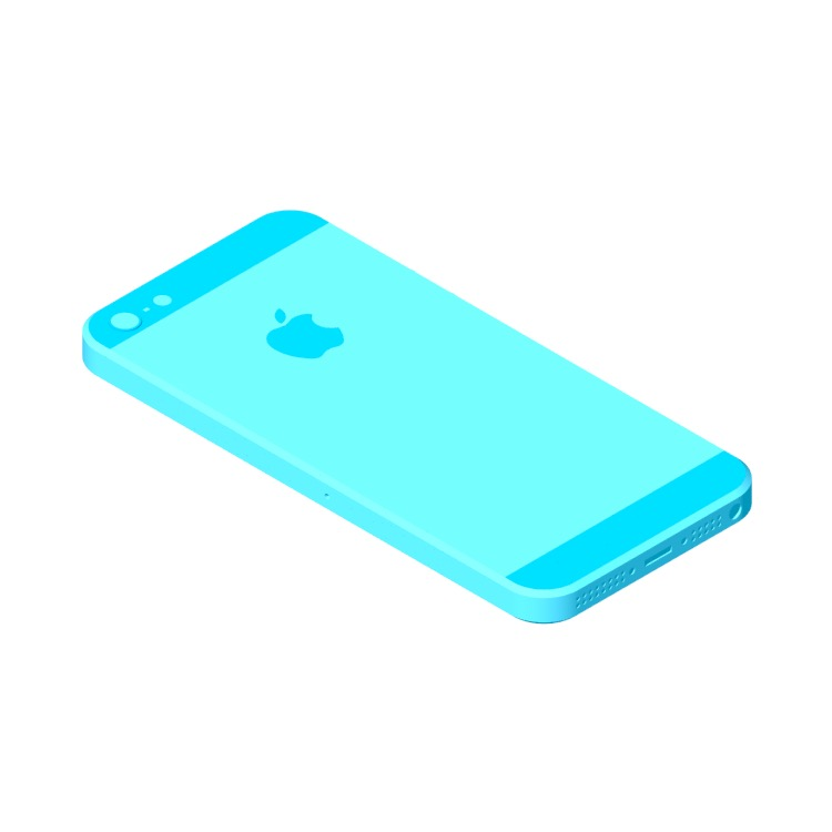 View of the Apple iPhone 5 (6th Gen) in 3D available for download