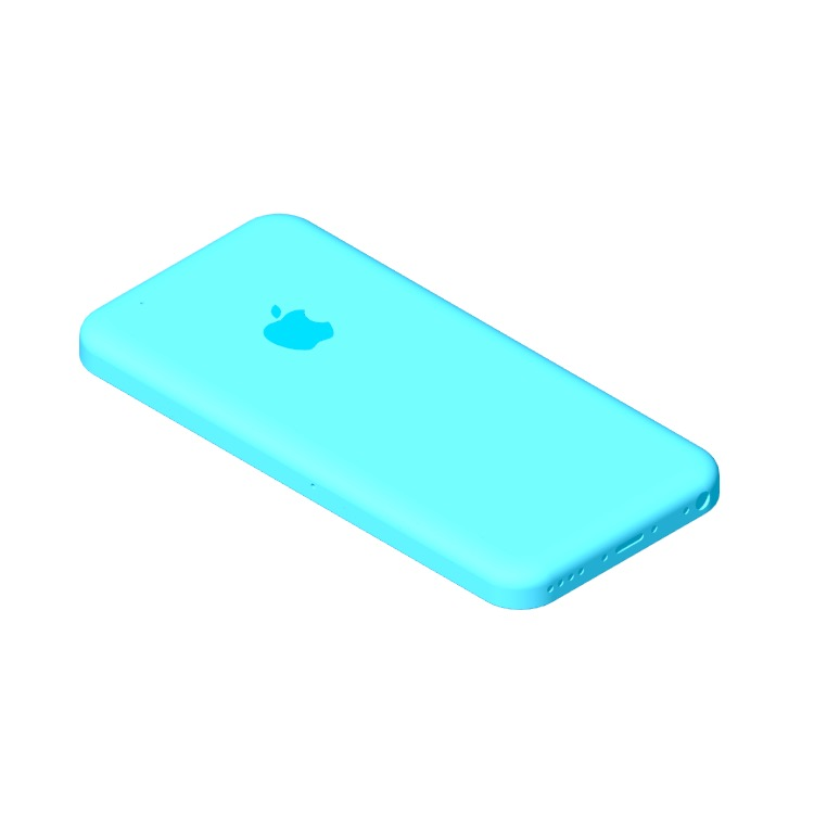 3D model of the Apple iPhone 5C (6th Gen) viewed in perspective
