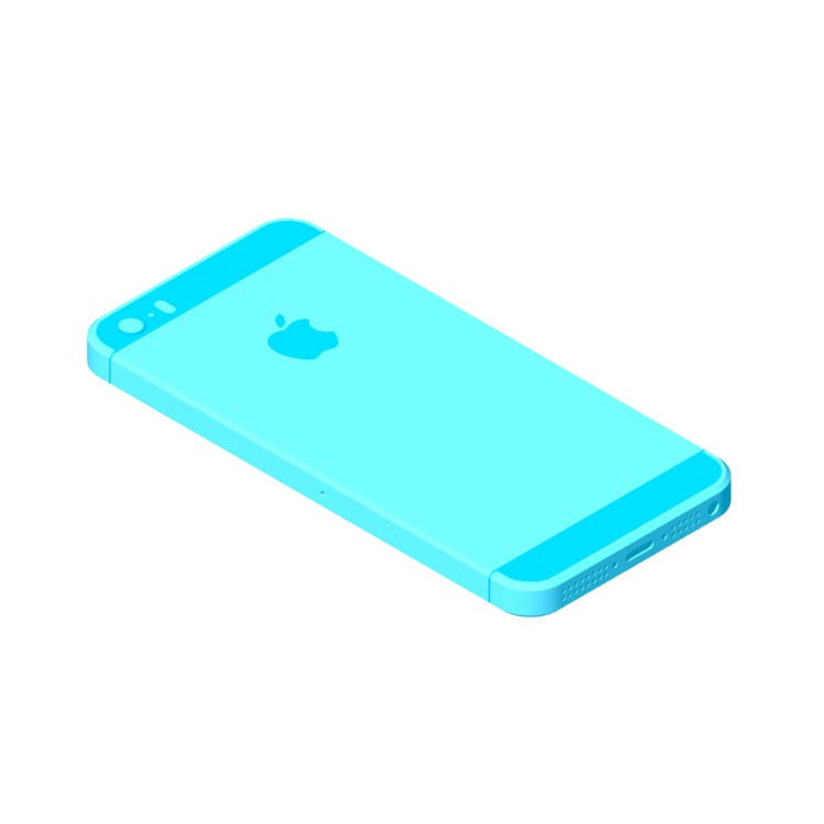 Perspective view of a 3D model of the Apple iPhone 5S (7th Gen)