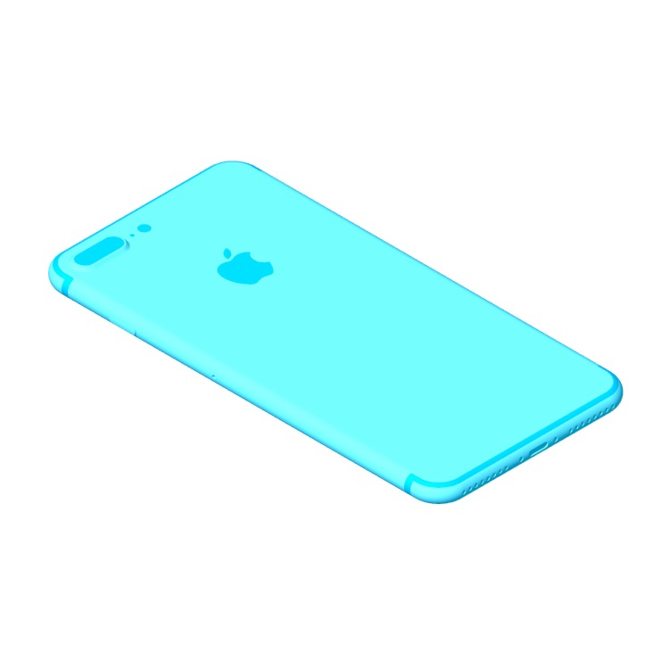 Perspective view of a 3D model of the Apple iPhone 7 Plus (10th Gen)