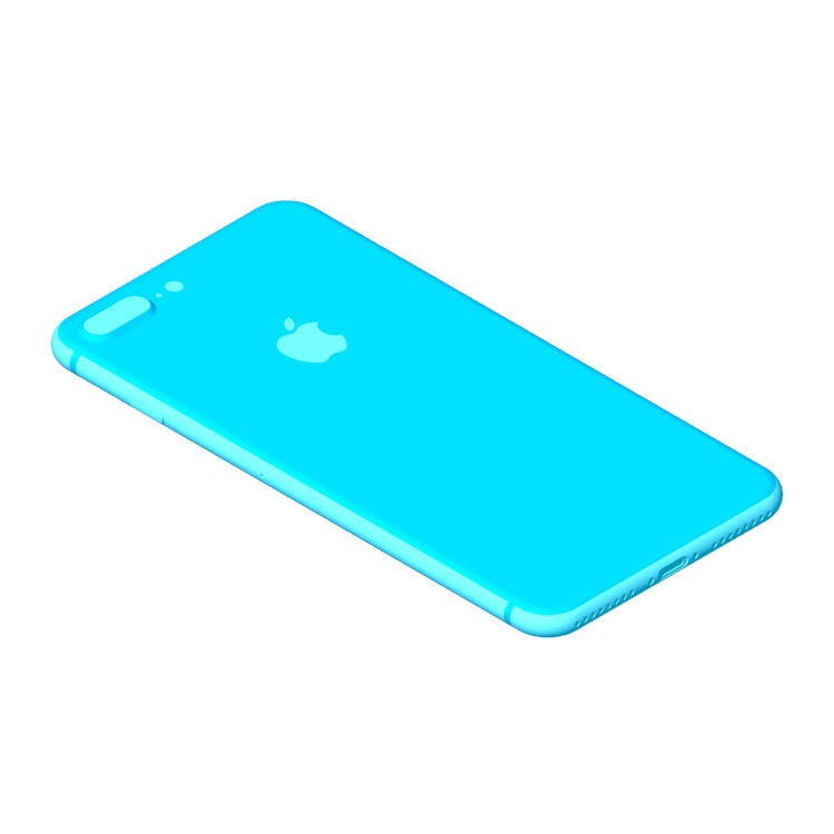 Perspective view of a 3D model of the Apple iPhone 8 Plus (11th Gen)