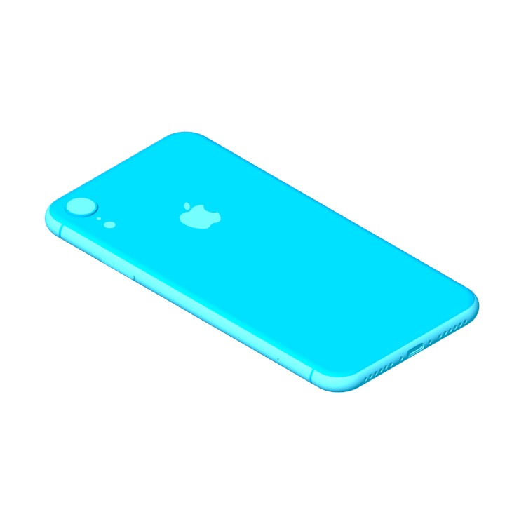 Perspective view of a 3D model of the Apple iPhone XR (12th Gen)