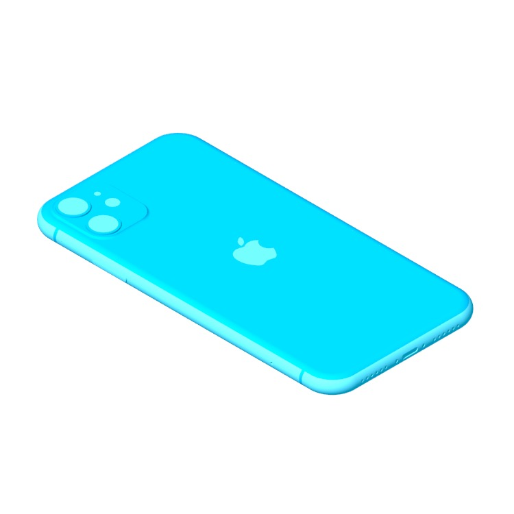 View of the Apple iPhone 11 (13th Gen) in 3D available for download