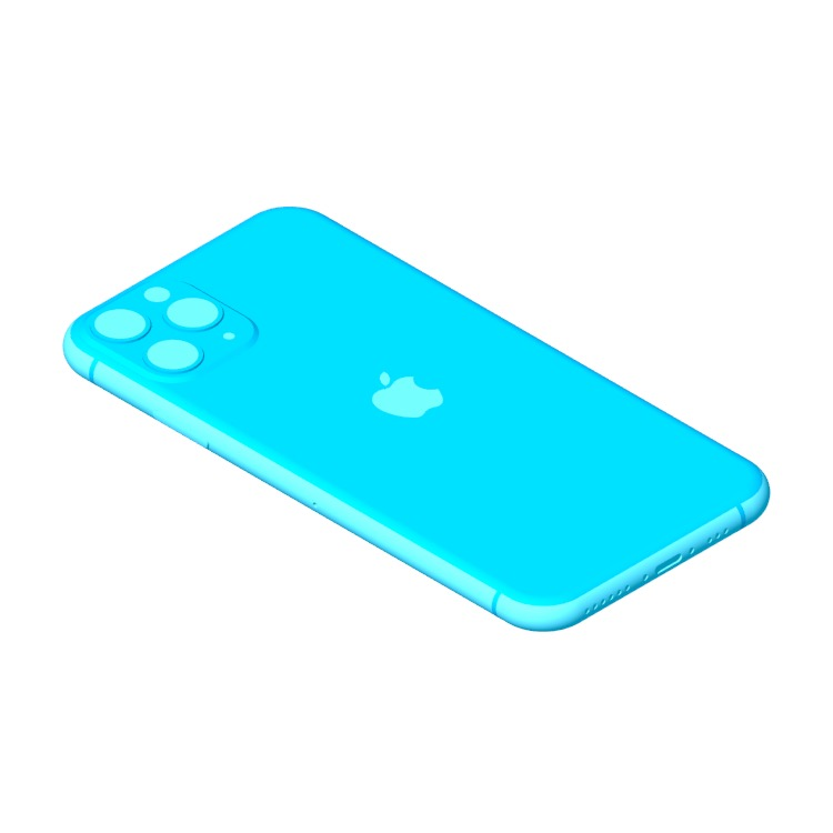 3D model of the Apple iPhone 11 Pro (13th Gen) viewed in perspective