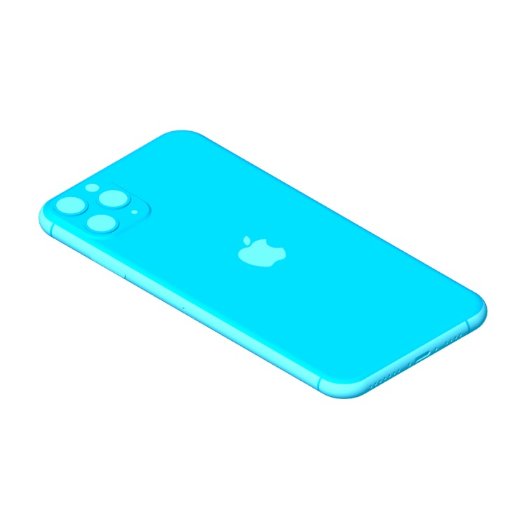 Perspective view of a 3D model of the Apple iPhone 11 Pro Max (13th Gen)