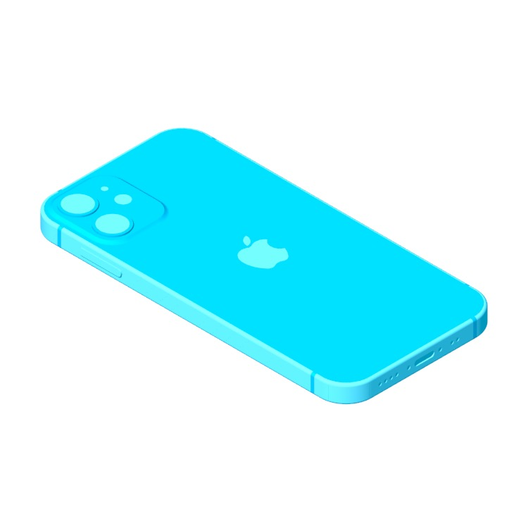 3D model of the Apple iPhone 12 Mini (14th Gen) viewed in perspective
