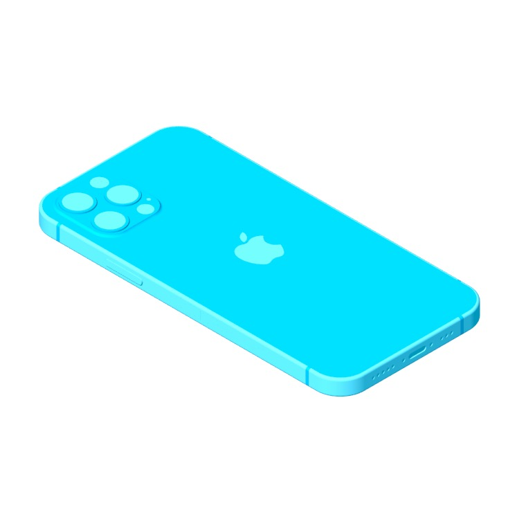Perspective view of a 3D model of the Apple iPhone 12 Pro (14th Gen)