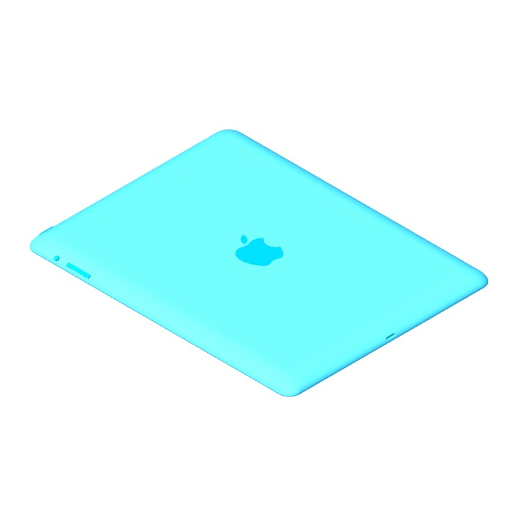 3D model of the Apple iPad (4th Gen) viewed in perspective