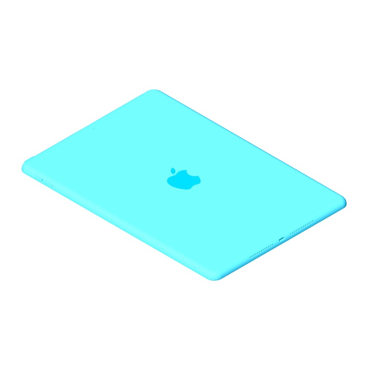 Perspective view of a 3D model of the Apple iPad (8th Gen)