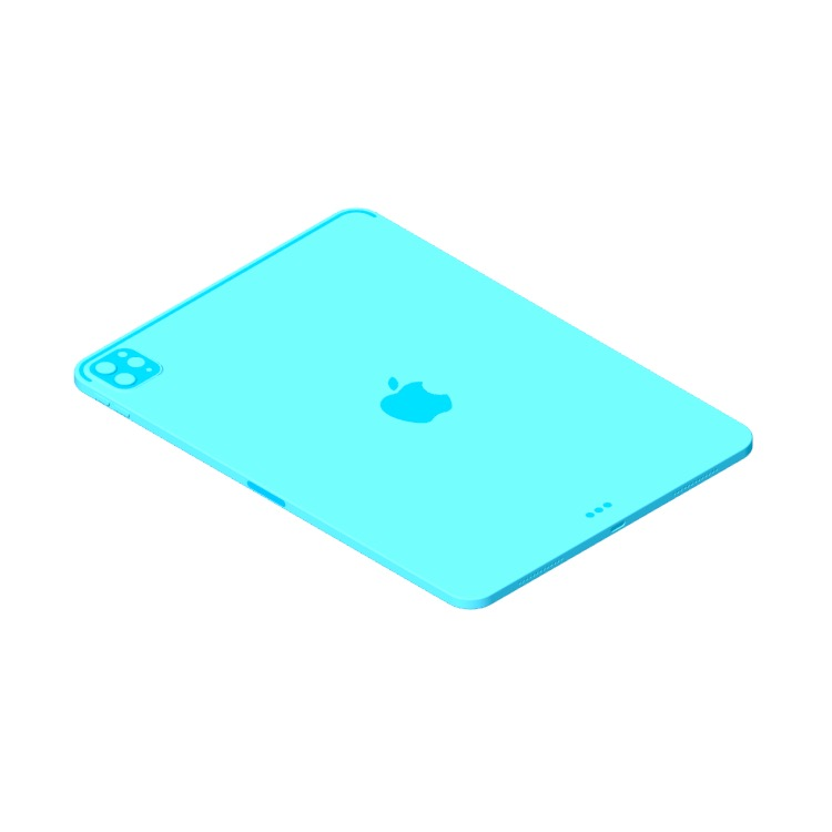 """3D model of the Apple iPad Pro - 11"""" (4th Gen) viewed in perspective"""