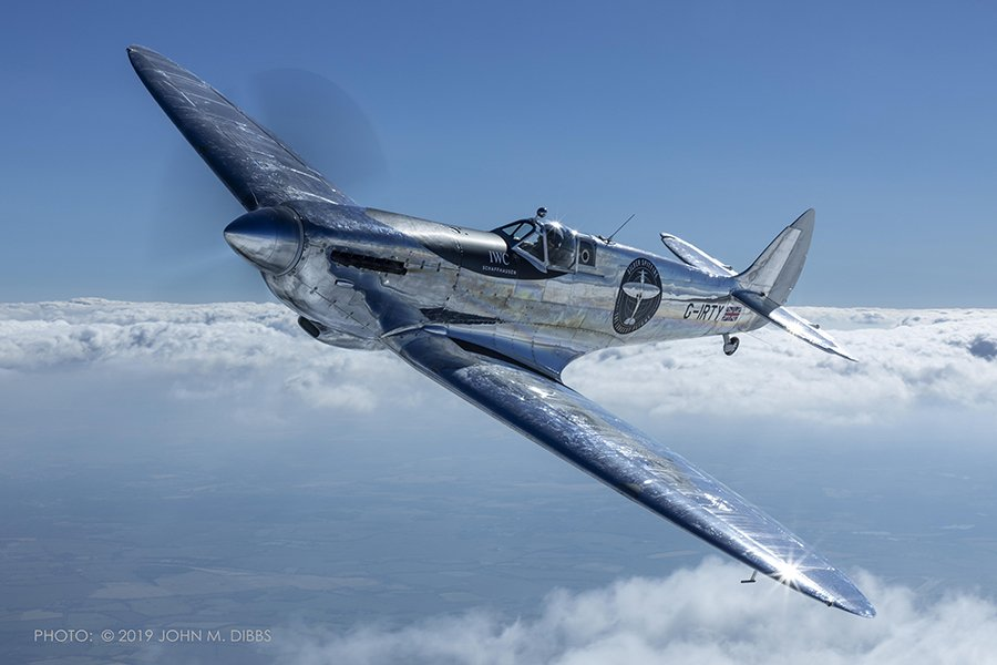 Silver Spitfire in Flight