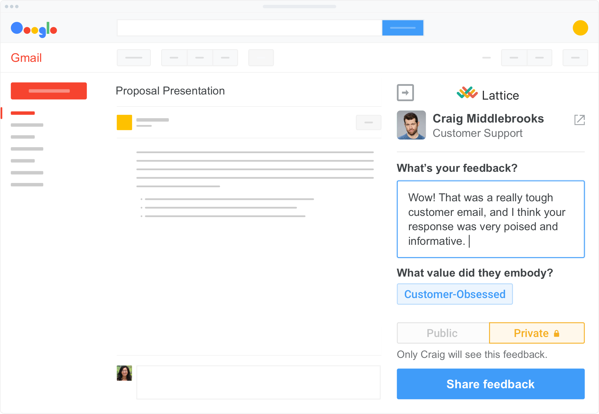 Share feedback from Gmail and Outlook