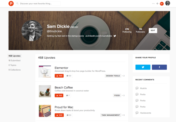 Sam Dickie Product Hunt