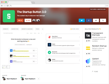Product Hunt - Startup Button