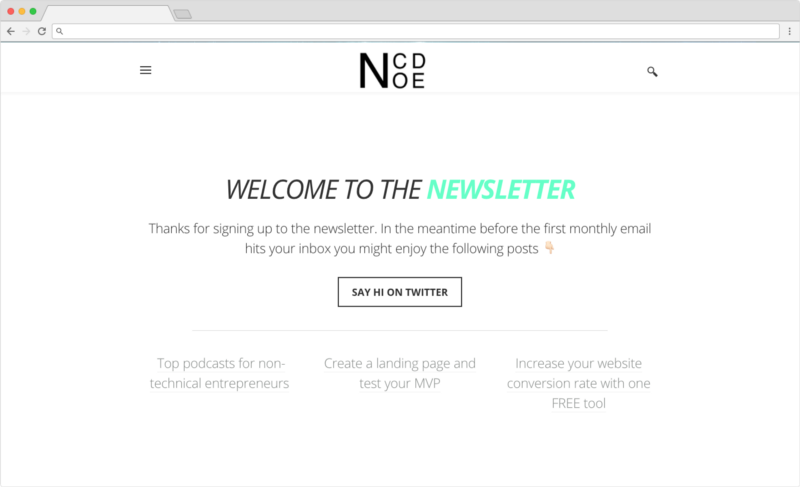 NoCode newsletter welcome page