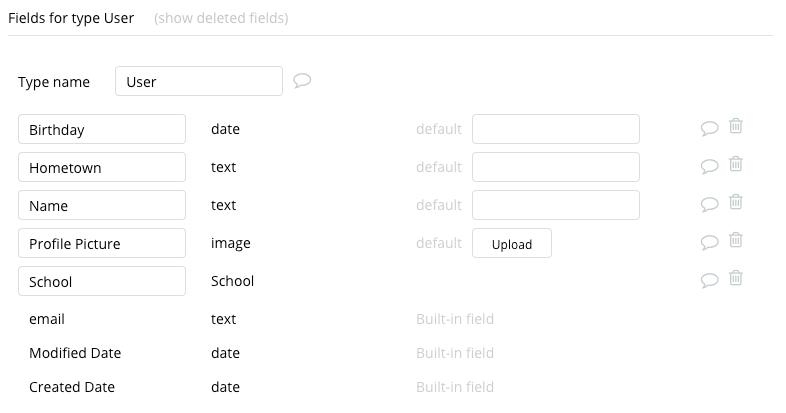 Bubble Facebook Clone User Data Types Fields