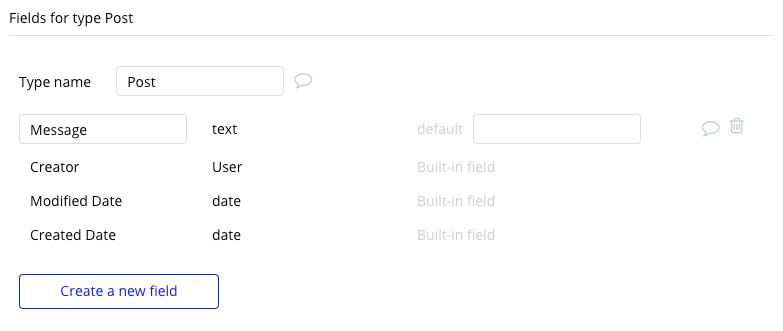 Bubble Facebook Clone Post Data Type Fields