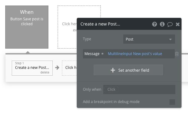 Bubble No Code Social Media Clone Post Workflow