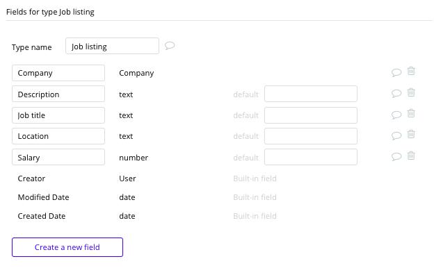 Bubble No Code Glassdoor Clone Job Data Type and Fields