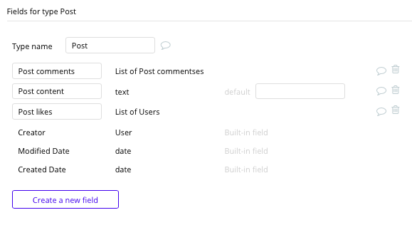 Bubble No Code LinkedIn Clone Post Data Types and Fields