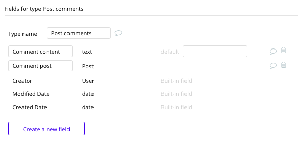 Bubble No Code LinkedIn Clone Post comments Data Types and Fields