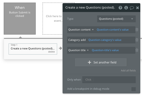Bubble Questions Submit Button Values