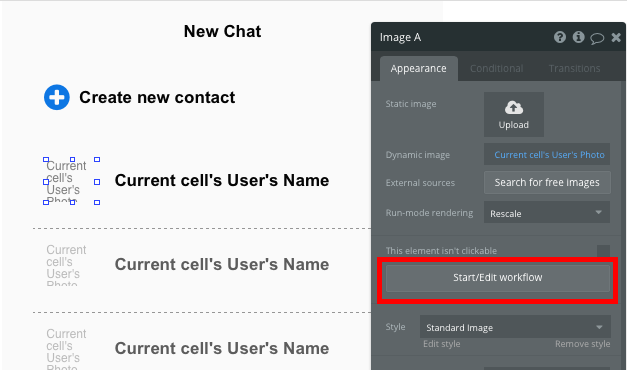 How to create new contacts in bubble whatsapp clone