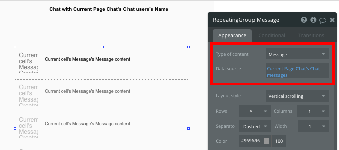 RepeatingGroup Data source for Bubble Chat app tutorial
