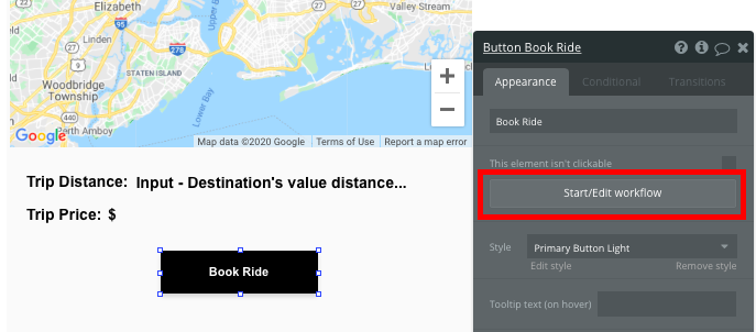 Bubble Uber Clone App Workflow Book Ride Feature