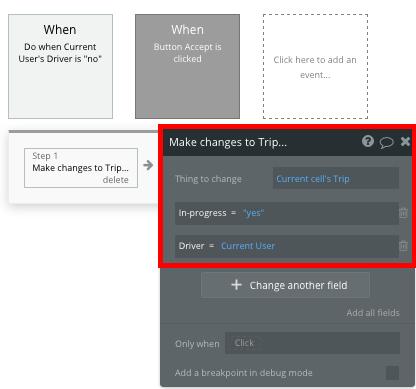 Bubble No Code Uber Clone Change Trip Status Workflow Tutorial