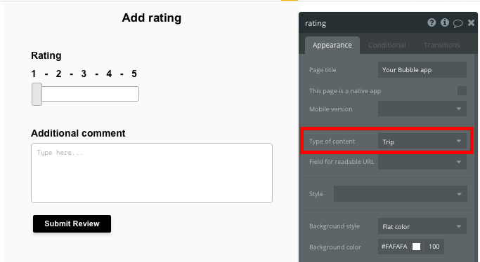 Bubble Uber Clone Ratings Page Template