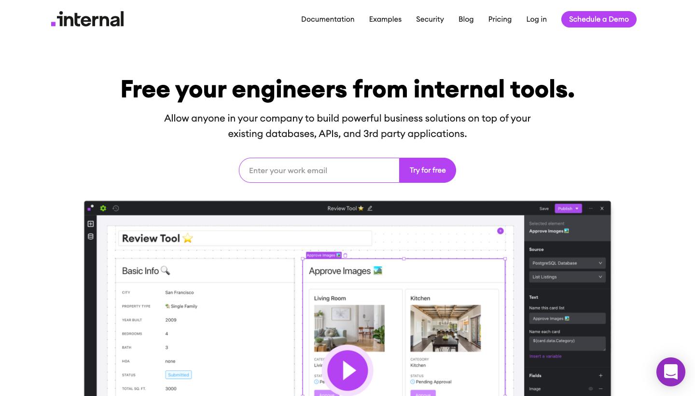 Internal.io Homepage