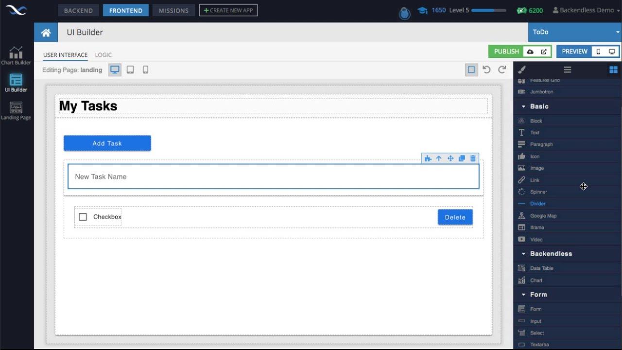 Developing a no-code ToDo App using Backendless UI Builder - 100% Codeless