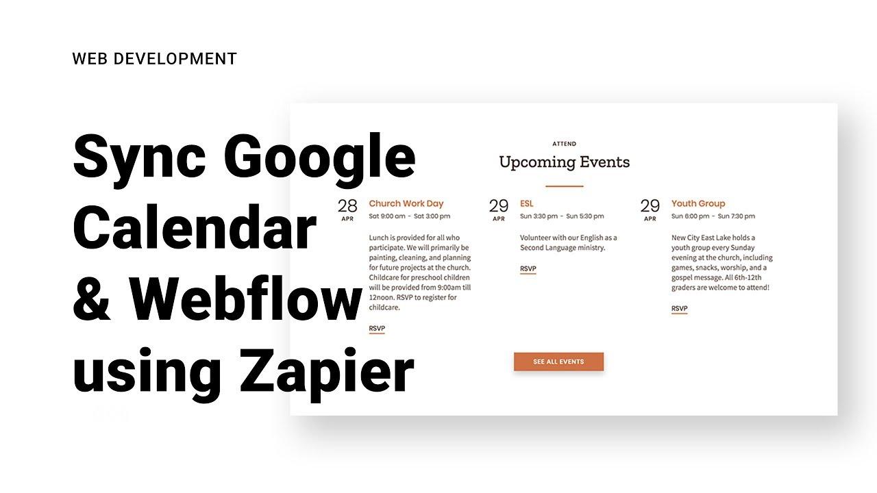 Sync Google Calender & Webflow using Zapier