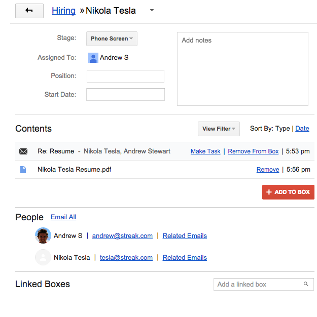 crm for hiring streak crm for gmail