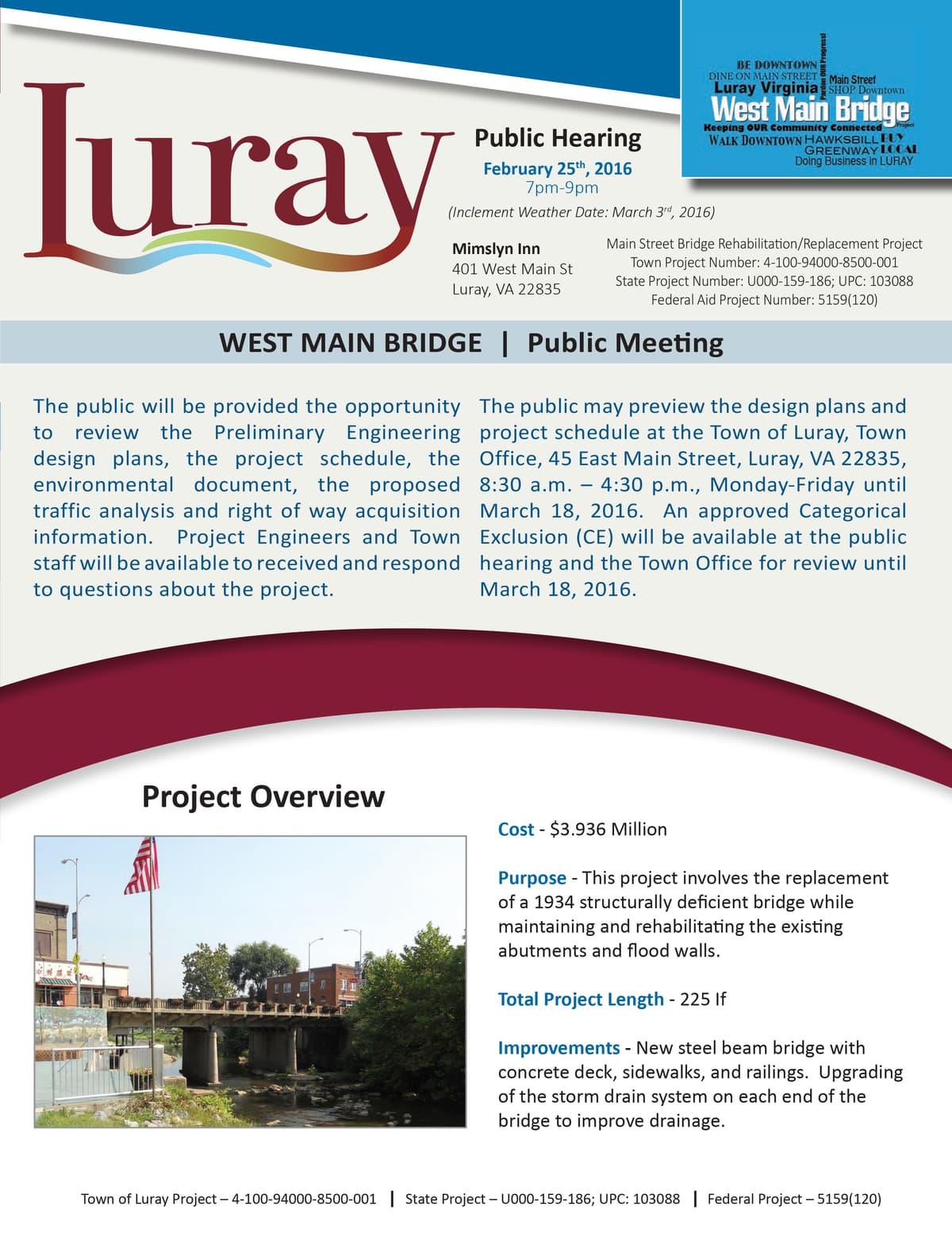 luray bridge public meeting announcement