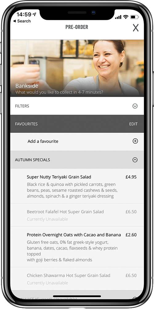 Crussh bar pub app pre order screenshot