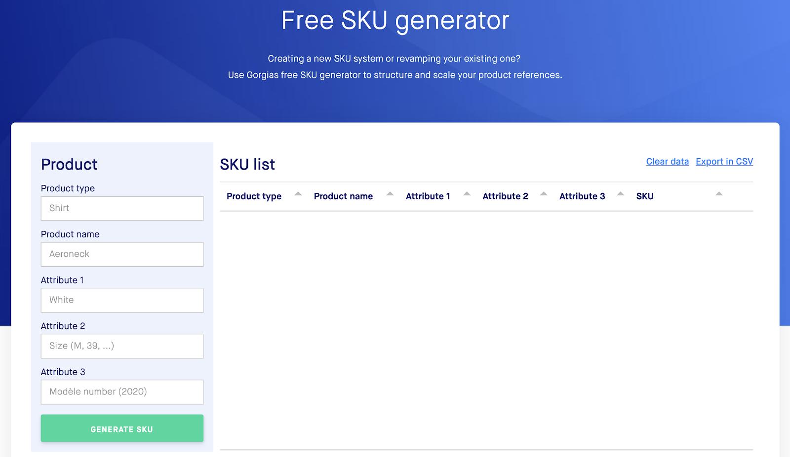 Free SKU generator by Gorgias