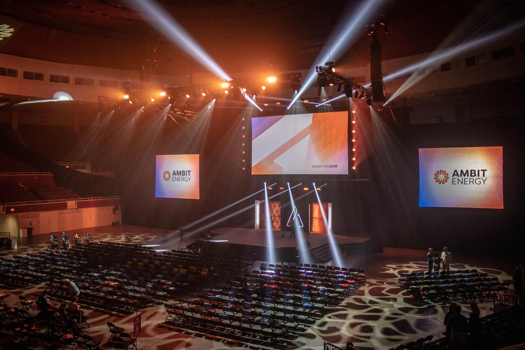 Arena A/V set up during AMBITION 2018