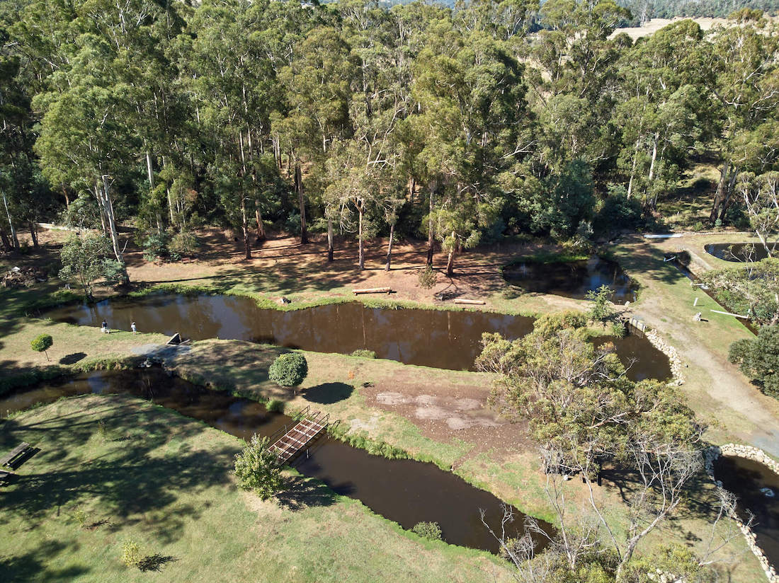 Freshwater sustainable trout farm ponds.