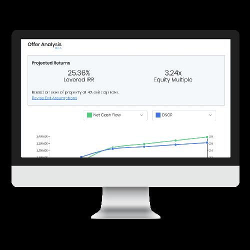 Screenshot of the StackSource web platform showing a deal IRR analysis