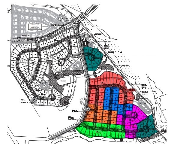 Technical drawing of a land development showing color coded lots, roads, and parcel numbers