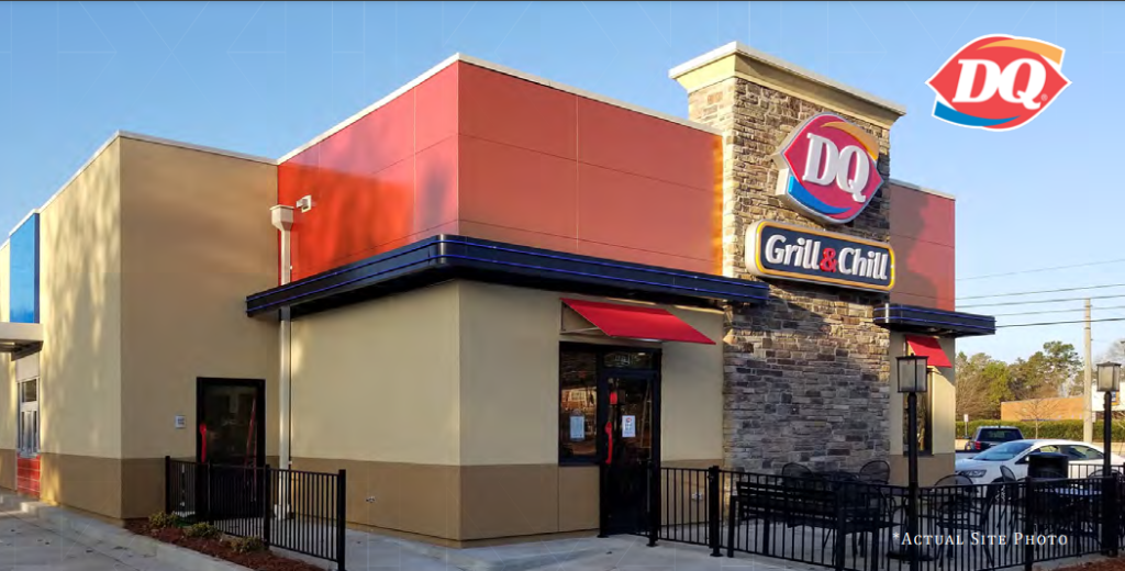 """Image of Dairy Queen business with the words """"grill and chill"""" on the wall"""