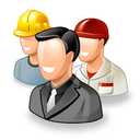 three smiling workers illustrated