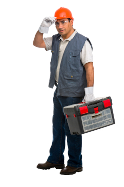 a man wearing hard hat gloves and carrying toolbox