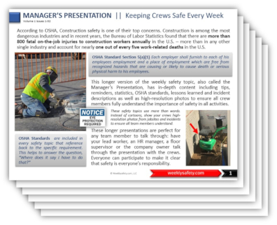sample weekly safety topics